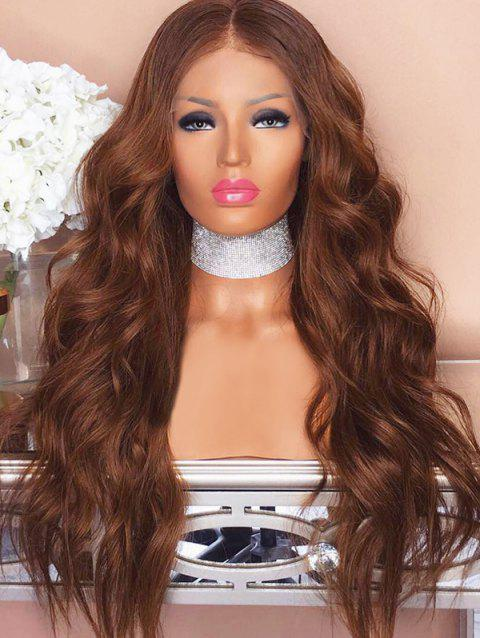Long Middle Part Body Wave Lace Front Synthetic Wig - BROWN