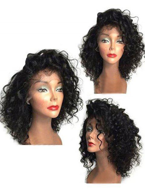 Medium Side Bang Curly Synthetic Lace Front Wig - BLACK 16INCH