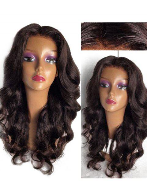 Long Center Parting Loose Body Wave Lace Front Synthetic Wig - BROWN 24INCH