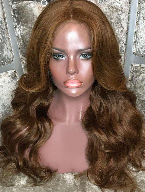 Middle Part Long Body Wave Lace Front Synthetic Wig - BROWN