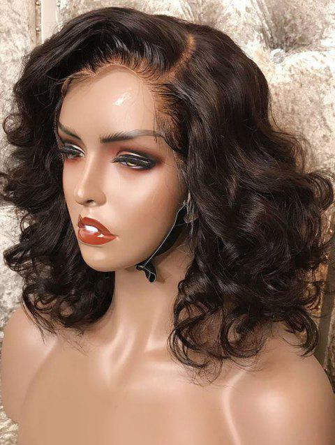 Short Side Bang Loose Wave Lace Front Synthetic Wig - DEEP BROWN