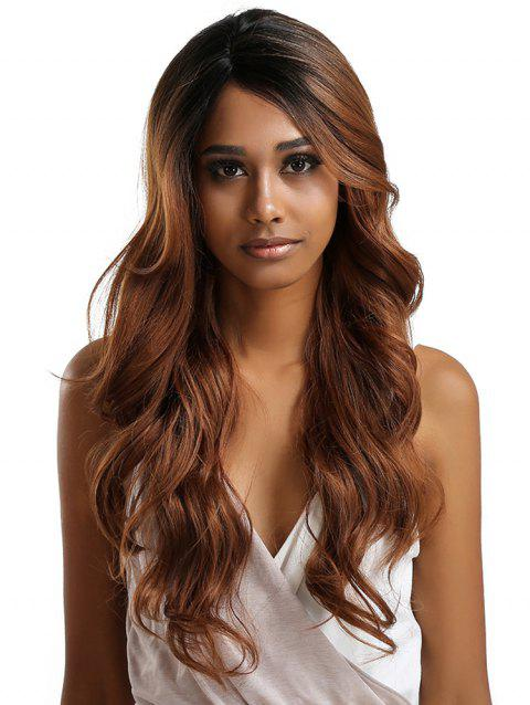Long Side Parting Colormix Feathered Wavy Lace Front Synthetic Wig - BROWN