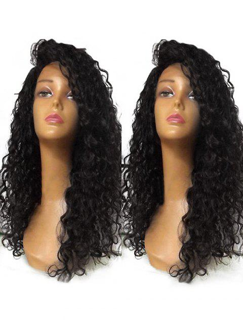 Long Inclined Bang Curly Lace Front Synthetic Wig - BLACK 24INCH