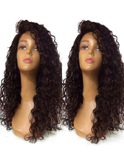 Long Inclined Bang Curly Lace Front Synthetic Wig - BROWN 24INCH
