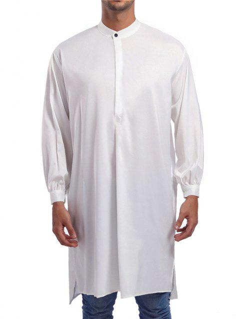 Solid One Button Long Shirt - WHITE 2XL