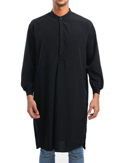 Solid One Button Long Shirt - BLACK L