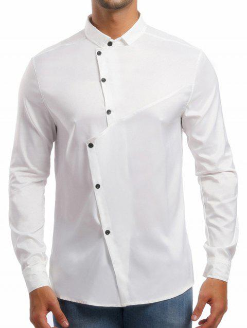 Personality Solid Irregular Button Up Shirt - WHITE L