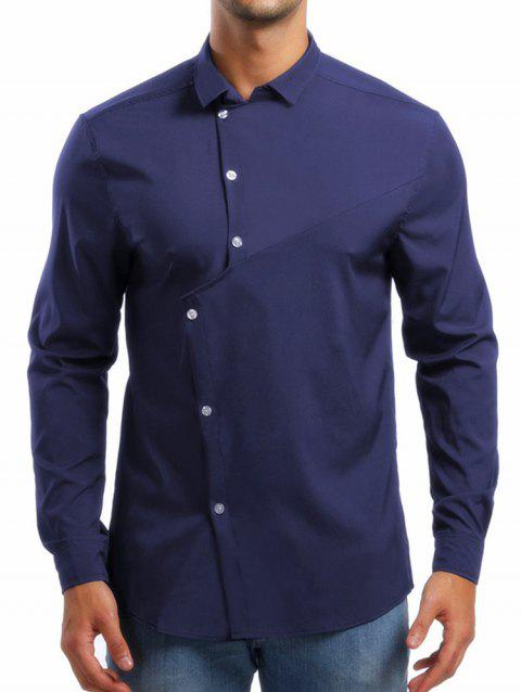 Personality Solid Irregular Button Up Shirt - CADETBLUE M