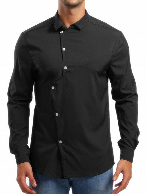 Personality Solid Irregular Button Up Shirt - BLACK L