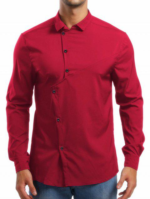 Personality Solid Irregular Button Up Shirt - RED XL