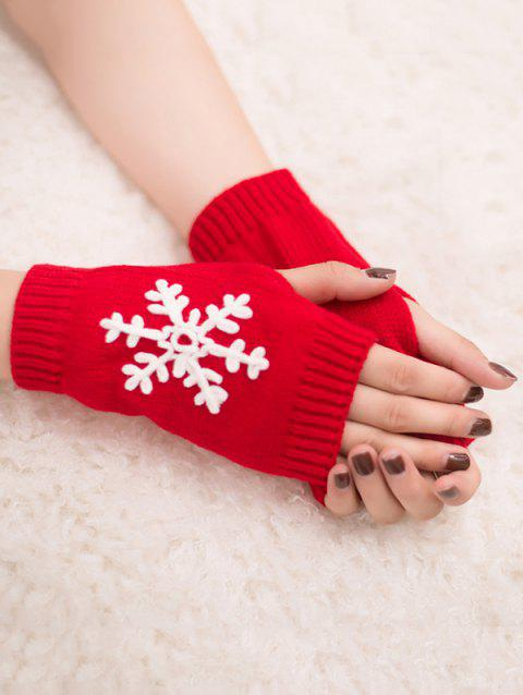 Stylish Snowflake Fingerless Gloves - RED