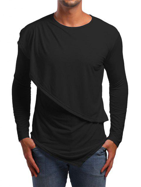Faux Twinset Asymmetric Solid T-shirt - BLACK L