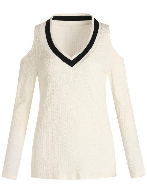 Stripe Collar Cold Shoulder Long Sleeve Knitwear - WHITE L