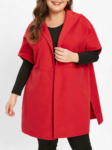 Plus Size Hooded Tunic Coat - RED 5X