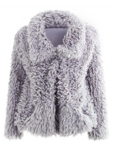 Faux Fur Pocket Coat - GRAY M