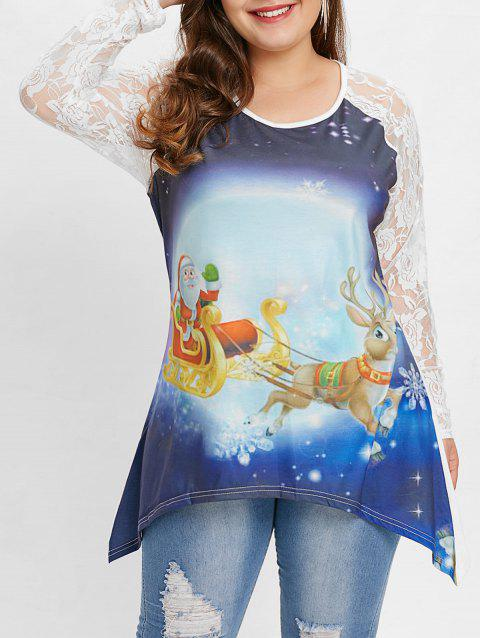 Plus Size Lace Sleeve Reindeer Christmas T-shirt - multicolor 2X
