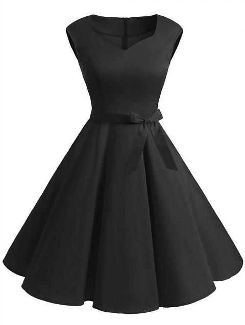 Plus Size Sweetheart Neck Flared Dress - BLACK L