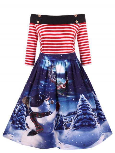 Christmas Vintage Snowman Print Off The Shoulder Dress - multicolor 4X