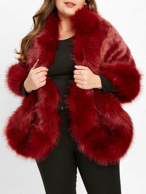 d1a00b51959 LIMITED OFFER  2019 Plus Size Faux Fur Coat In RED WINE ONE SIZE ...