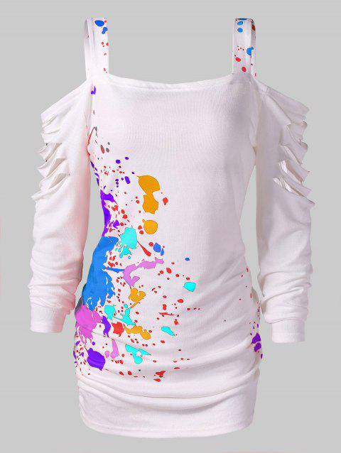 Cut Out Blood Splatter Open Shoulder T-shirt - multicolor M
