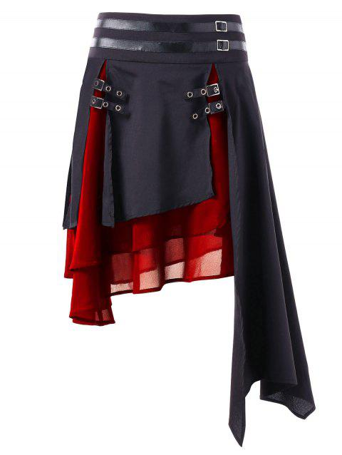 Contrast Asymmetrical Layered Skirt - LAVA RED M