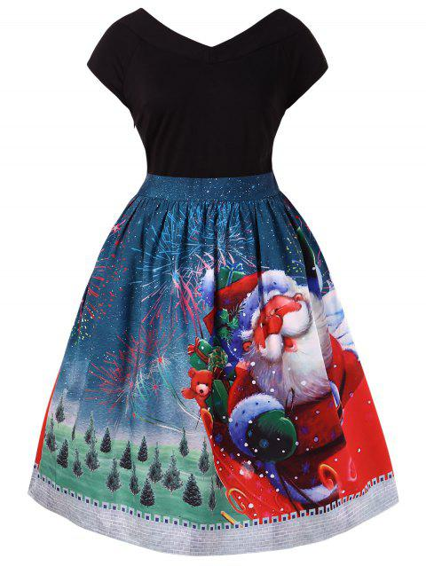 Plus Size Christmas V Neck Dress - multicolor 5X