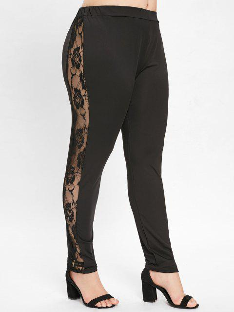 50c3f25fb3f15 47% OFF] 2019 Plus Size See Through Side Lace Panel Leggings In ...