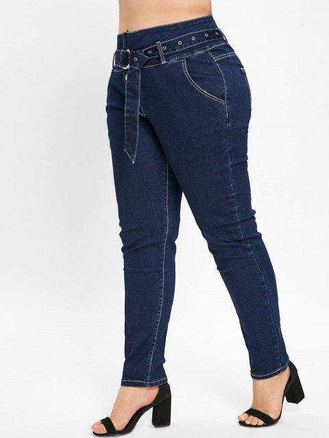 Plus Size High Waisted Four Button Jeans - DEEP BLUE 2X