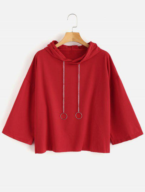 Plus Size Drop Shoulder Chain Hoodie - RED L