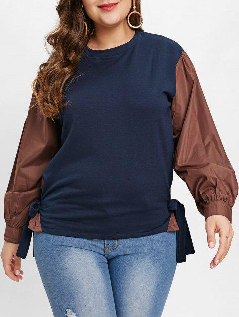Plus Size Long Sleeve Tie Detail T-shirt - MIDNIGHT BLUE 2X