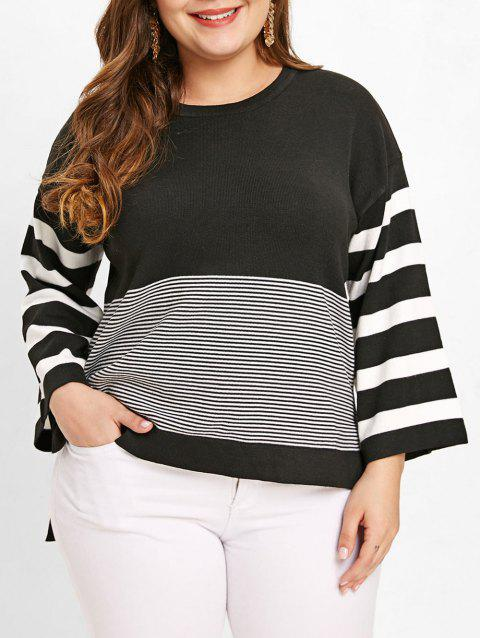Plus Size Color Block Pinstripe Sweater - BLACK 4X