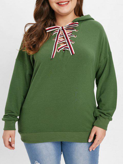 Plus Size Long Sleeve Lace Up Hoodie