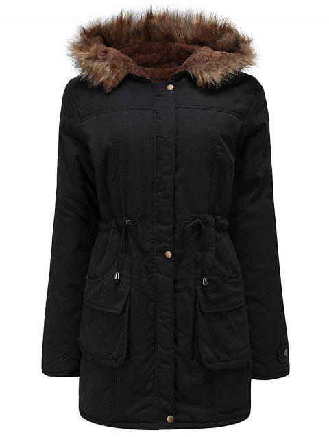Plus Size Drawstring Waist Parka Coat - BLACK 2X