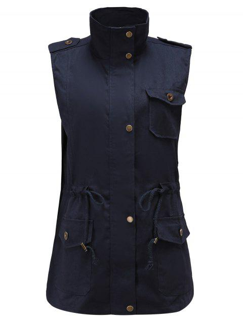 Plus Size Stand Up Collar Front Pockets Vest - CADETBLUE 2X