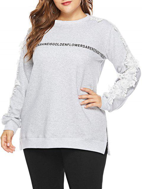 Plus Size Letter Pattern Lace Applique Sweatshirt - LIGHT GRAY 4X