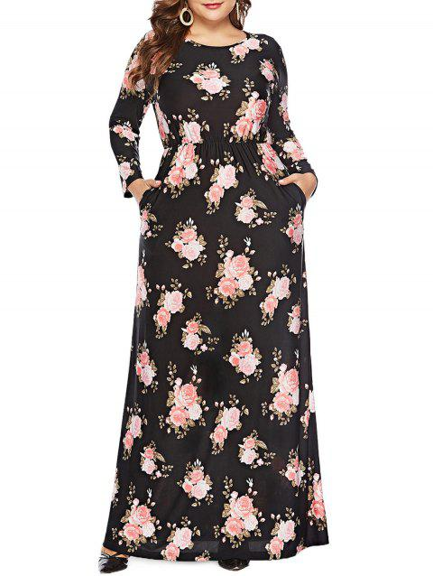 Plus Size Long Sleeve Floral Maxi Dress - BLACK 5X