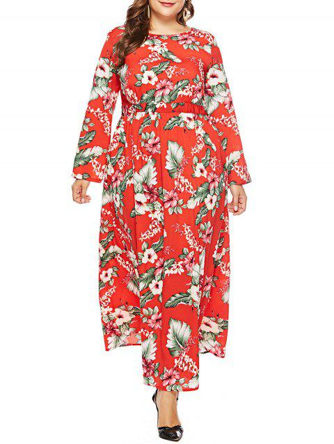 Plus Size Leaf Pattern Maxi Dress - RED 3X