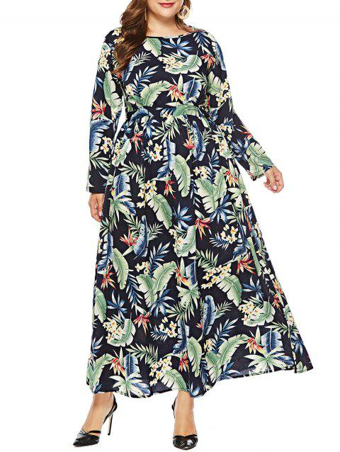 Plus Size Leaf Pattern Maxi Dress - BLACK 5X