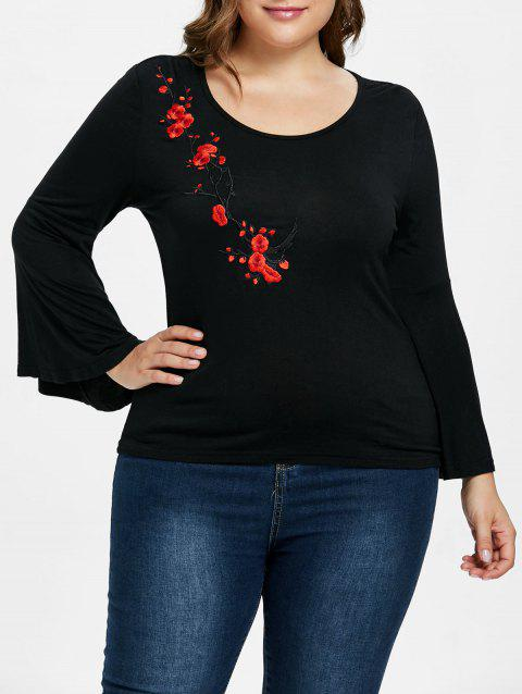 Plus Size Embroidery Flare Sleeve T-shirt - BLACK 1X