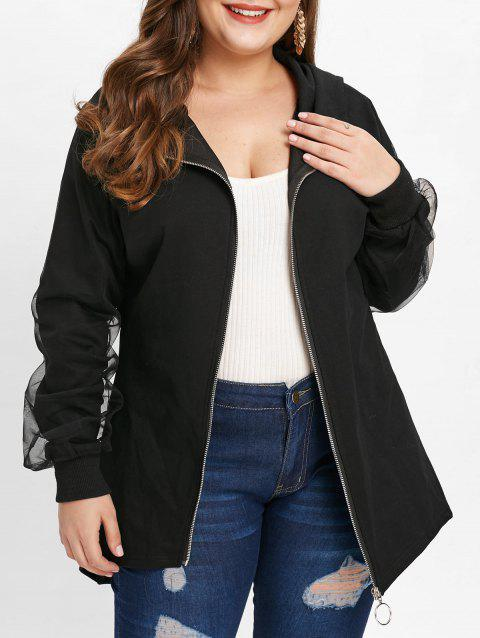 Plus Size Skew Zipper Mesh Panel Coat - BLACK 3X