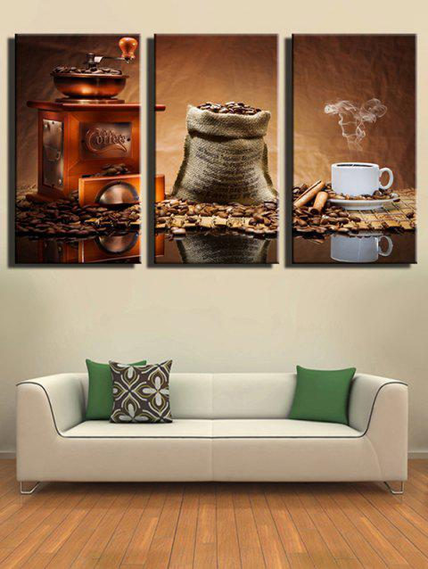 Coffee Bean Print Unframed Split Canvas Paintings - multicolor 3PCS X 12 X 18 INCH( NO FRAME )