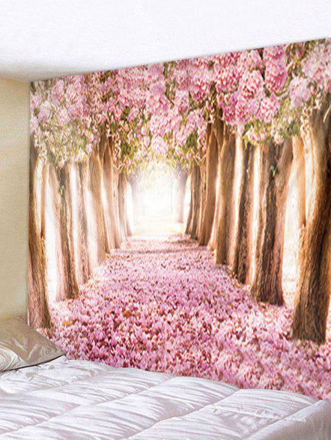 Flower Trees Avenue Print Tapestry Wall Hanging Decoration - multicolor W91 X L71 INCH