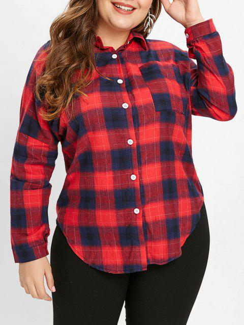 056b5862d4b LIMITED OFFER  2019 Plus Size Pocket Plaid Blouse In VALENTINE RED L ...