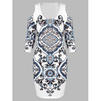 Open Shoulder Ethnic Print Bodycon Mini Dress
