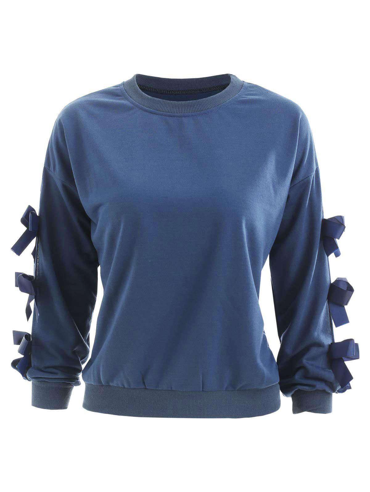 Cut Out Sleeve Sweatshirt with Bowknots - PEACOCK BLUE S