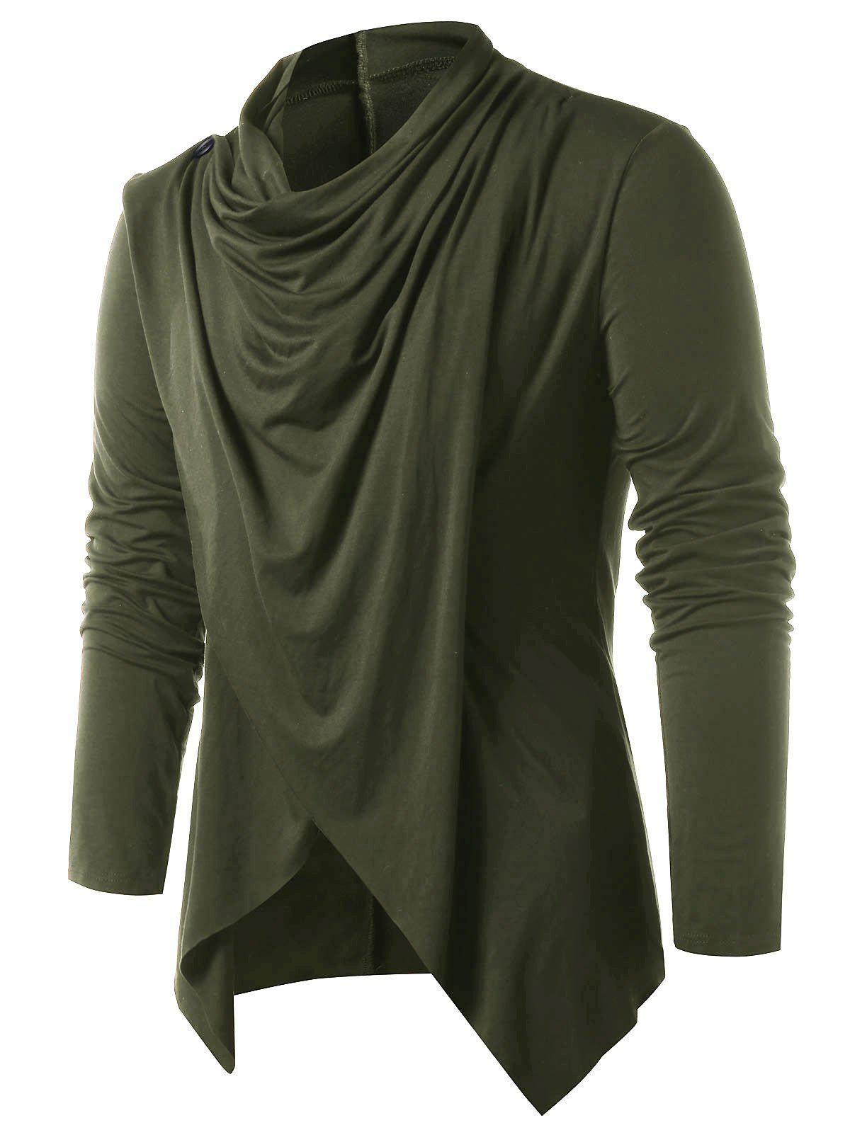 Convertible Asymmetrical Cardigan - ARMY GREEN S