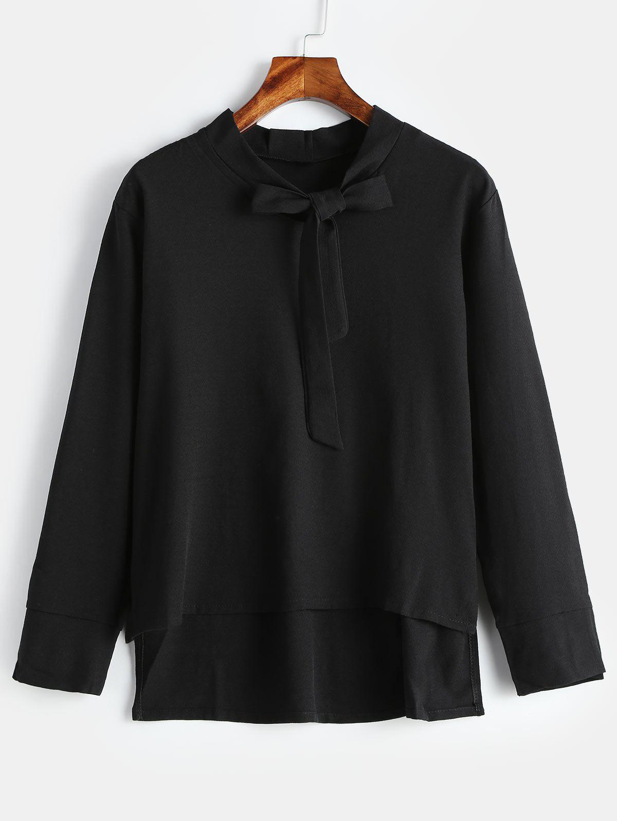 Plus Size Long Sleeve Blouse with Tie - BLACK 4X