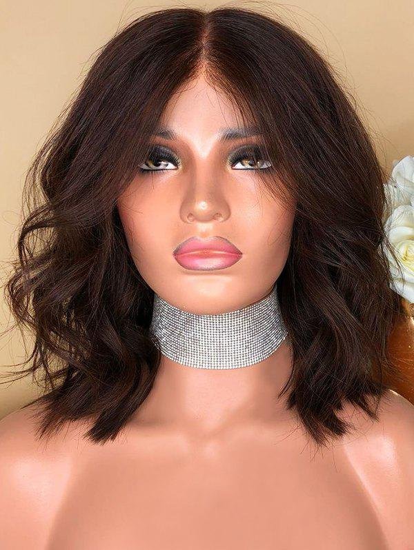 Center Parting Short Wavy Lace Front Synthetic Wig - DEEP BROWN