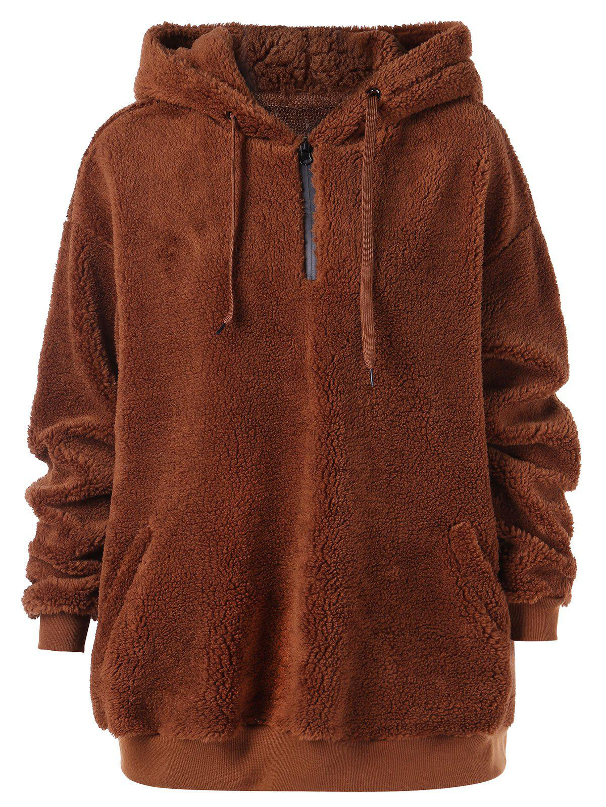 Zip Up Fluffy Hoodie - BROWN L
