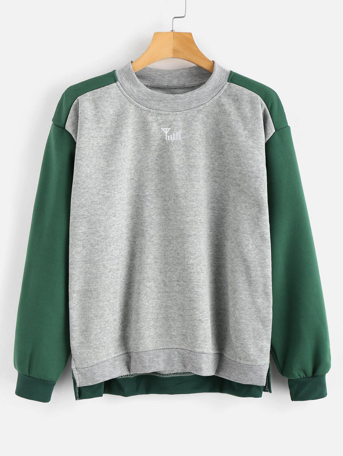 Plus Size Hit Color Thicken Sweatshirt - LIGHT GRAY 2X